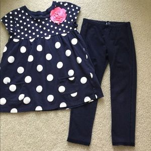 Other - Girls size 6 navy polka dot pant set